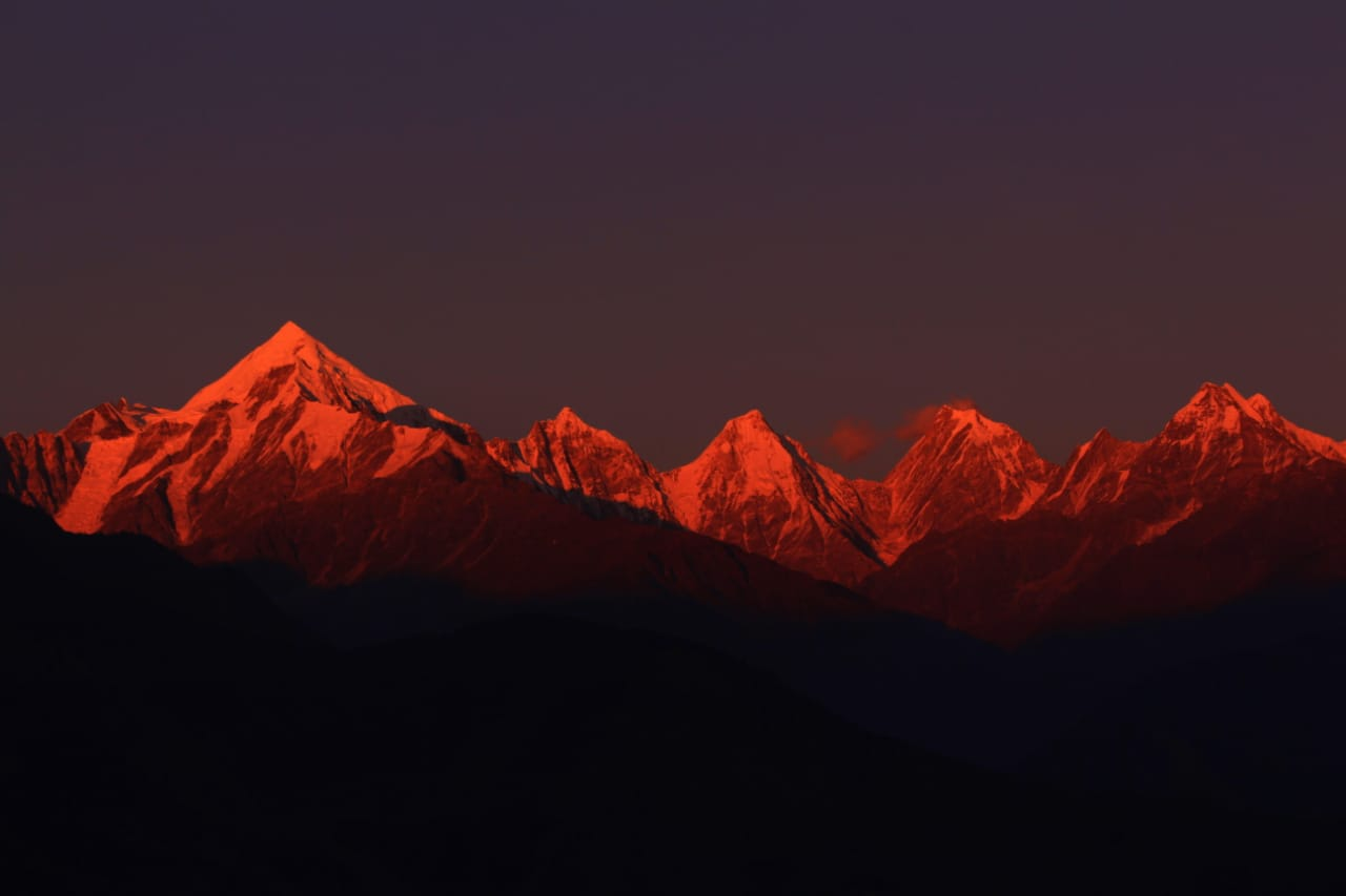 Sunset at Panchachuli Peaks