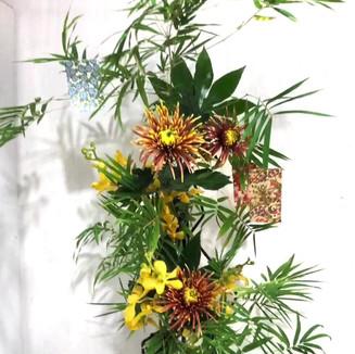 Stairs to the Milky Way, by Yuka Takahashi (Singapore). Iron frame, vase, bamboo, chrysanthemum, orchid, Japanese aralia.