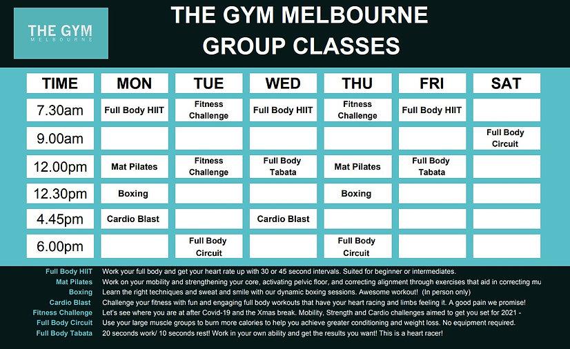 Gym Melbourne Class Timetable