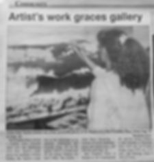 """Barrhaven Independent's article, Aug. 24, 2001, about Dale Taylor's solo exhibit """"Wave Dreaming""""."""