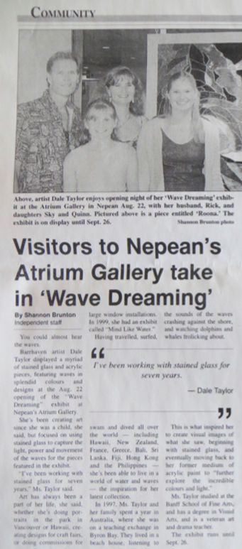 """Barrhaven Independant's Sept. 7, 2001 article about Dale Taylor solo exhibit """"Wave Dreaming""""."""