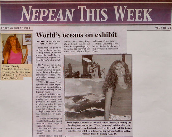 """Nepean This Week's article, Aug. 17, 2001, about Dale Taylor's solo exhibit """"Wave Dreaming""""."""