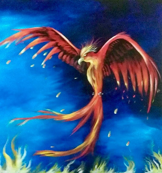 This is an acrylic painting of a Phoenix rising from the flames.