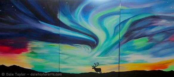 A huge acrylic painting over 3 canvasses of the Northern Lights and an elk in silhouette - for a child's bedroom.