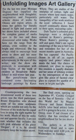 """Newswest article, 1999, about Dale Taylor's """"Mind Like Water"""" Trio Exhibit."""