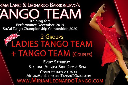 TANGO TEAM COUPLES:  August (5 Rehearsals)