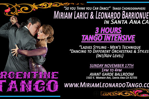 3 Hrs Tango Intensive (SINGLE)