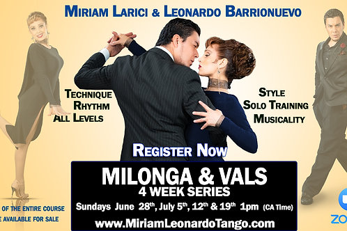 Milonga & Vals Series - 4 Lessons + HD Video - (1 person)