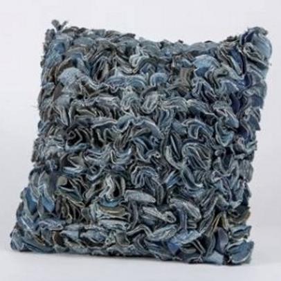 Scalloped Denim Pillow