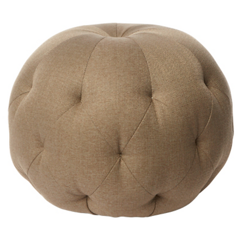 """20"""" Leather Round Pouf"""