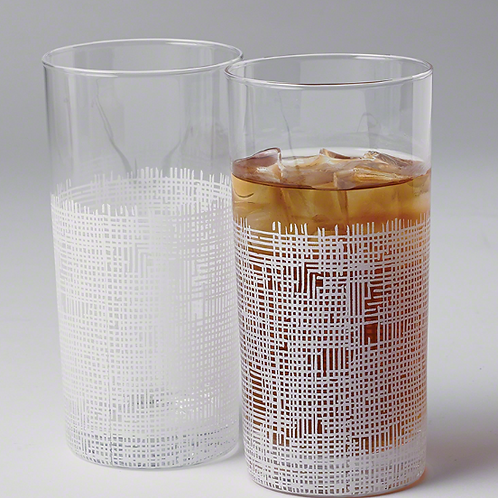 Crosshatch Drinking Glass Tall