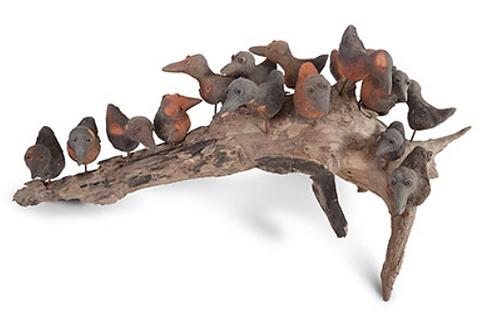 Birds on Wood Sculpture