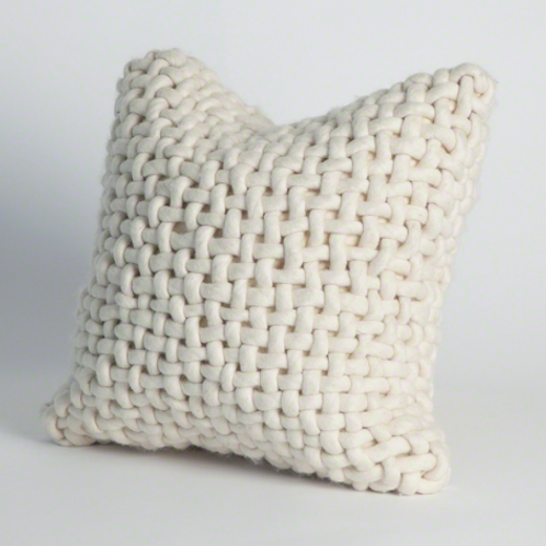 Large Knit Felt Pillow - Bone