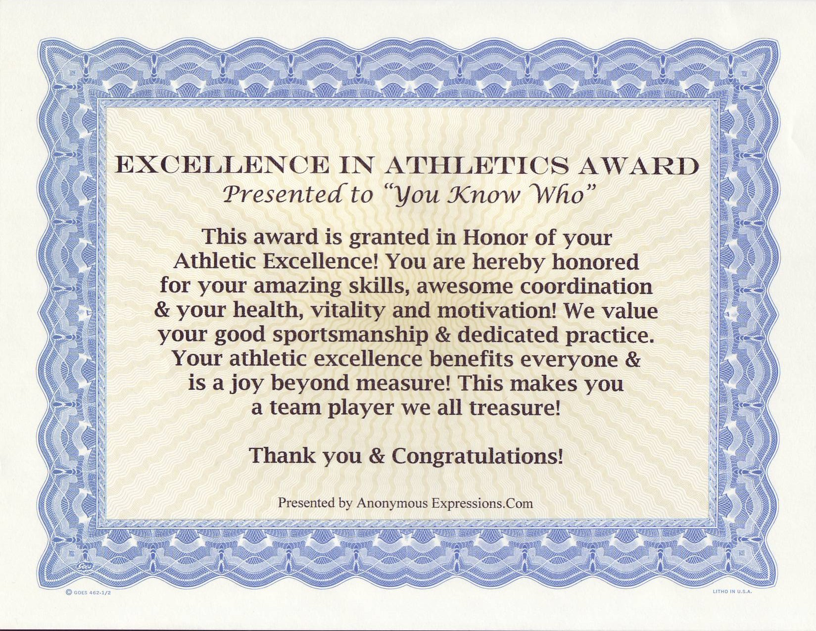 Excellence in Athletics Award