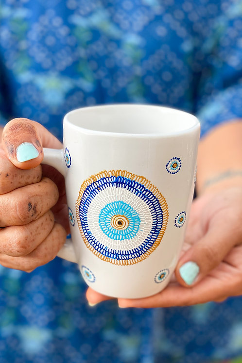 Hand painted Evil eye mug