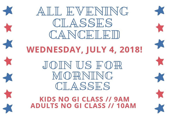 2018 Fourth of July evening classes cancellation reminder