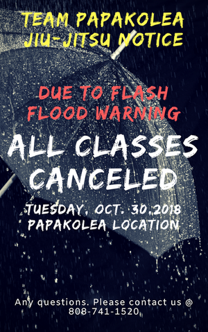 Flash flood warning Classes canceled