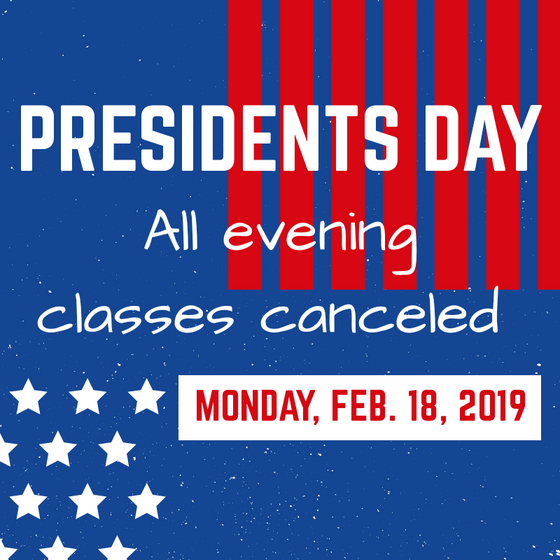 Presidents' Day Class Schedule