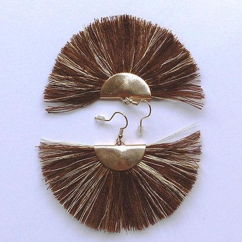 Boucles d'oreilles à franges - marron