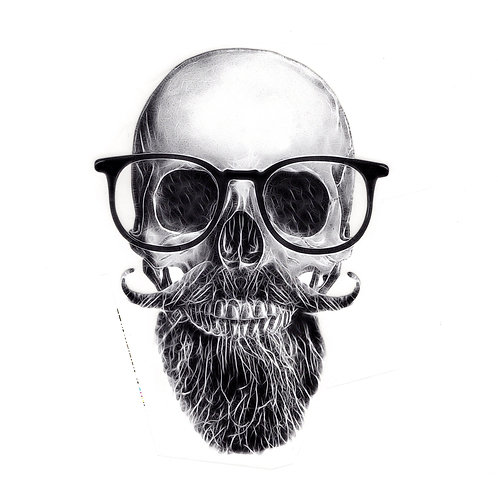 Transfert tête de mort à lunettes