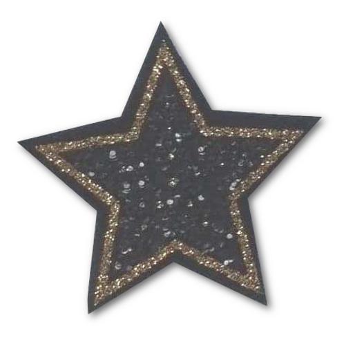 Ecusson thermocollant étoile pailletée noire et or
