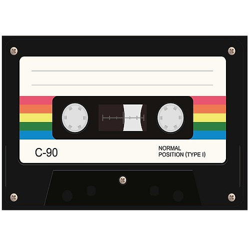 Motif thermo-adhésif cassette retro