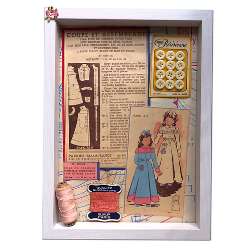 Cadre Shadow Box fillettes roses