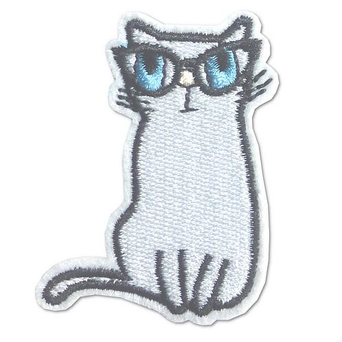 Ecusson thermocollant chat blanc à lunettes