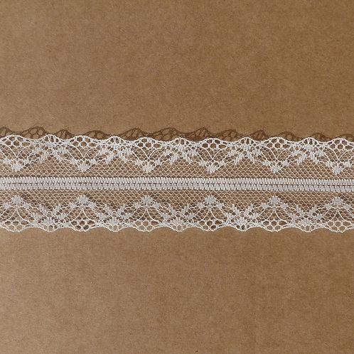Ruban de dentelle symétrique blanc ivoire x2m