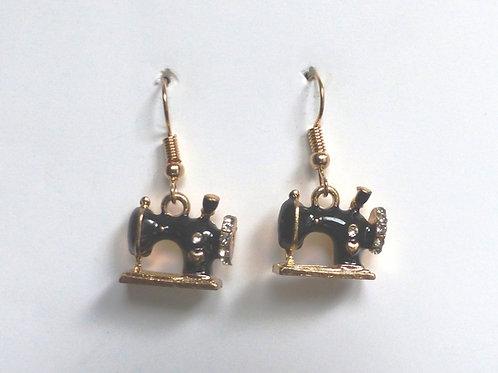 Boucles d'oreilles machines à coudre noires