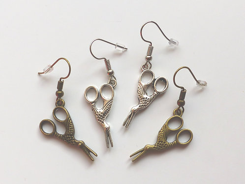 Boucles d'oreilles ciseaux cigogne