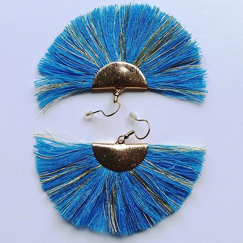Boucles d'oreilles à franges - bleu