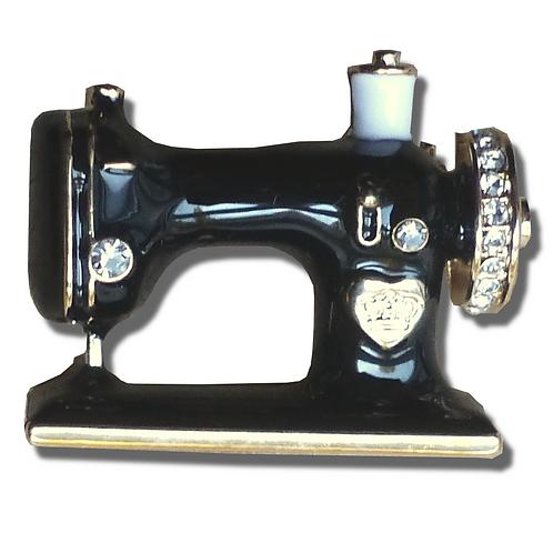 Broche machine à coudre noire