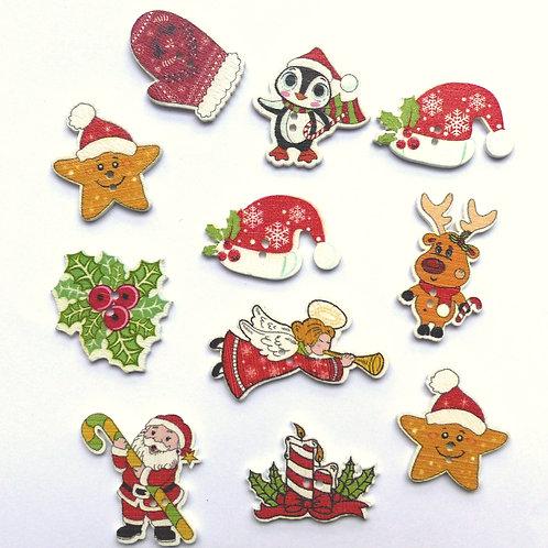Lot de 11 boutons de Noël