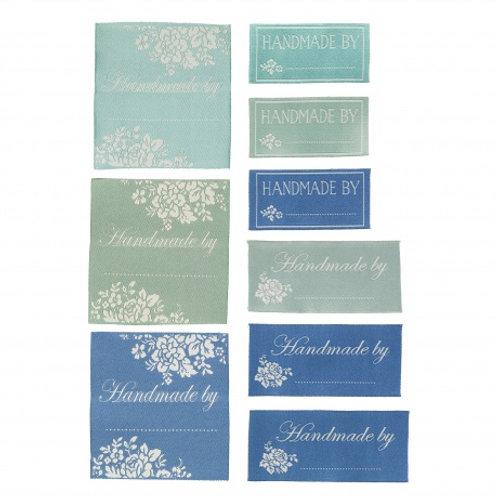 """Lot d'étiquettes """"Handmade by..."""" bleues et vertes"""