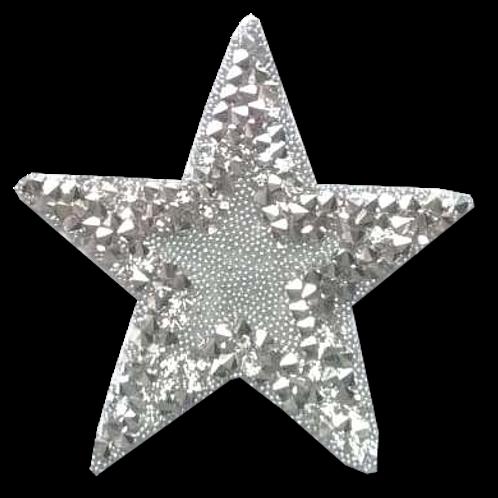 Ecusson thermocollant étoile strass argentés