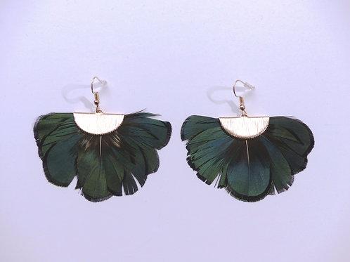 Boucles d'oreilles plumes vertes