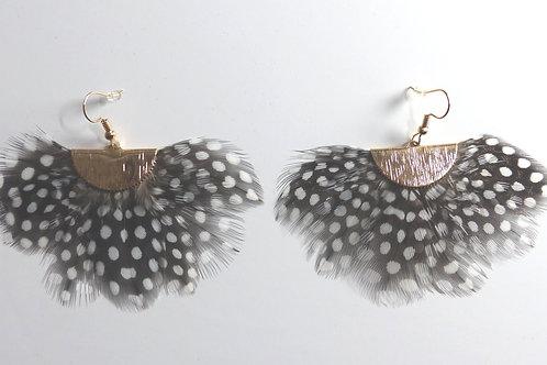 Boucles d'oreilles plumes à pois