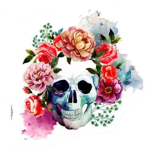 Transfert tête de mort et fleurs