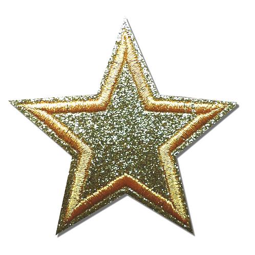 Ecusson étoile dorée pailletée