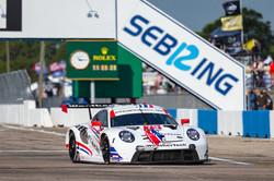 Porsche completing a lap.