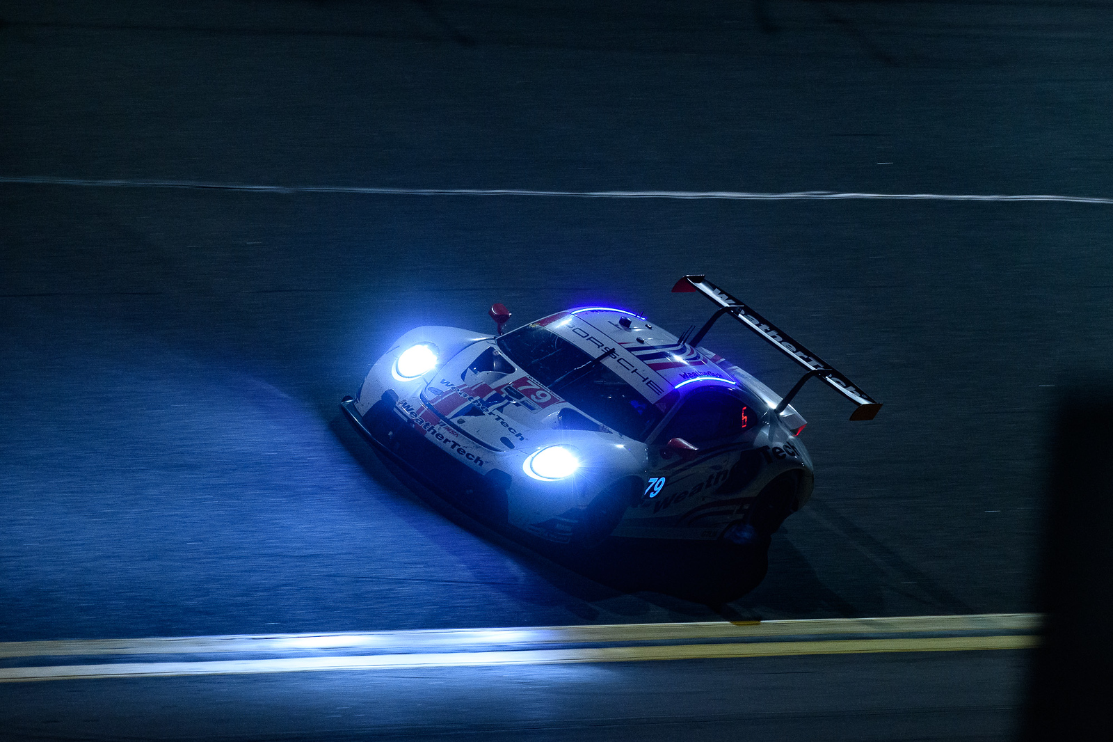 Porsche on track at night_