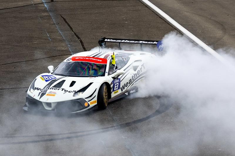 Doing donuts in the Ferrari.