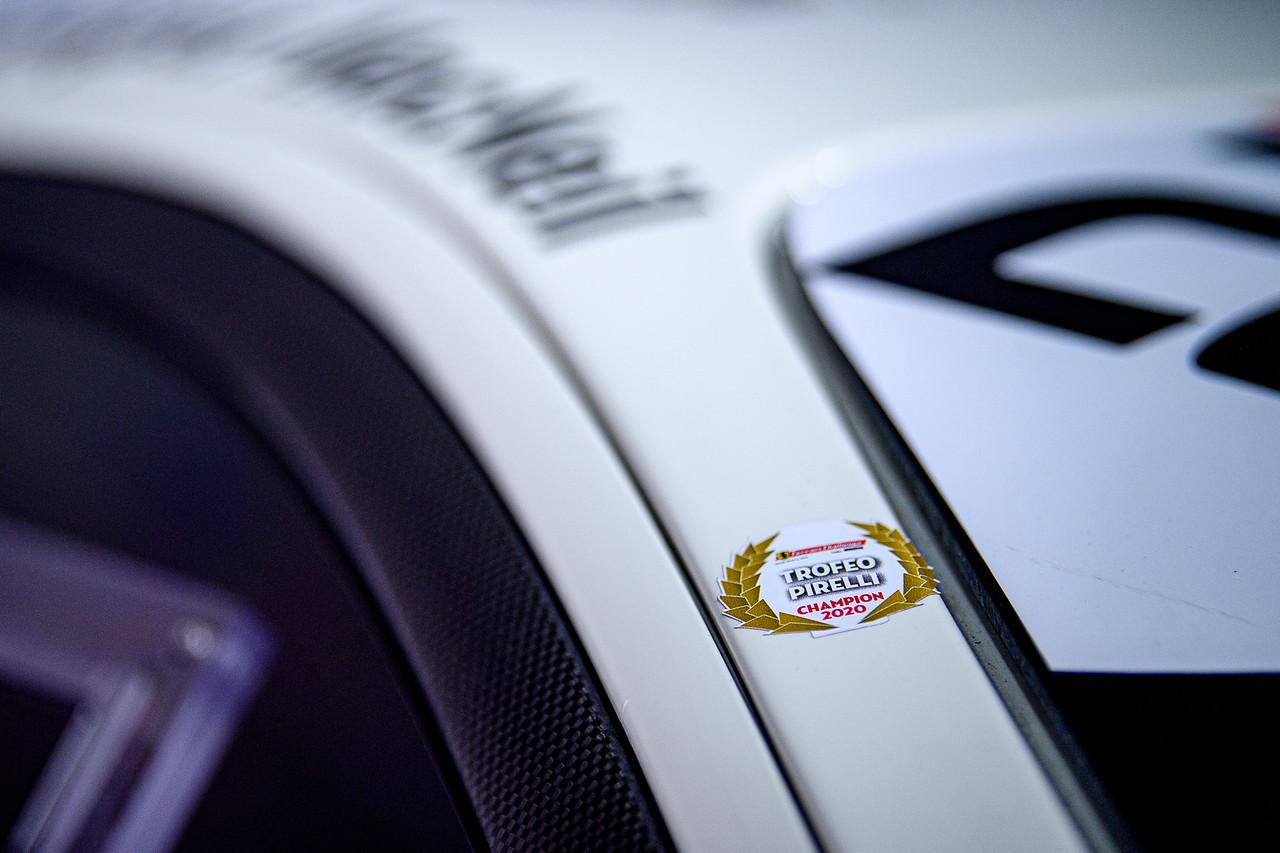 Close up of the Ferrari decals.
