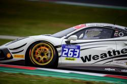 Ferrari driving around a turn.