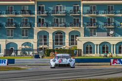 Porsche rounding turn.