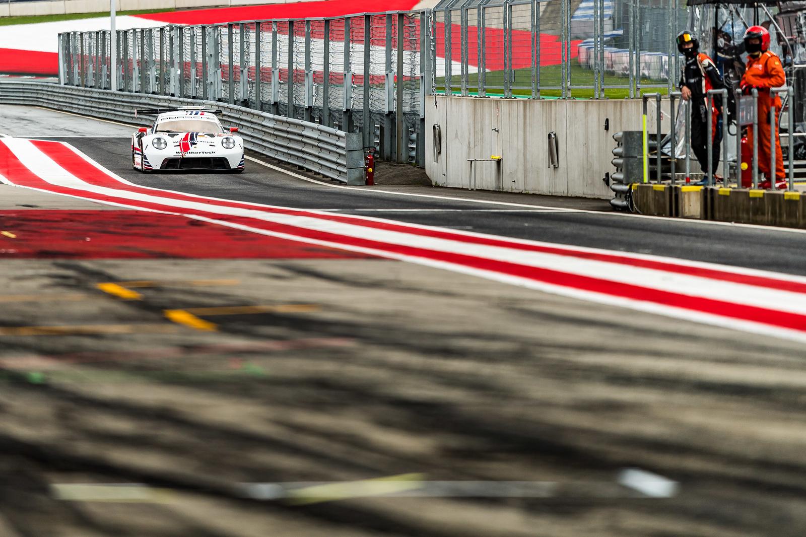 Porsche coming down the lane.