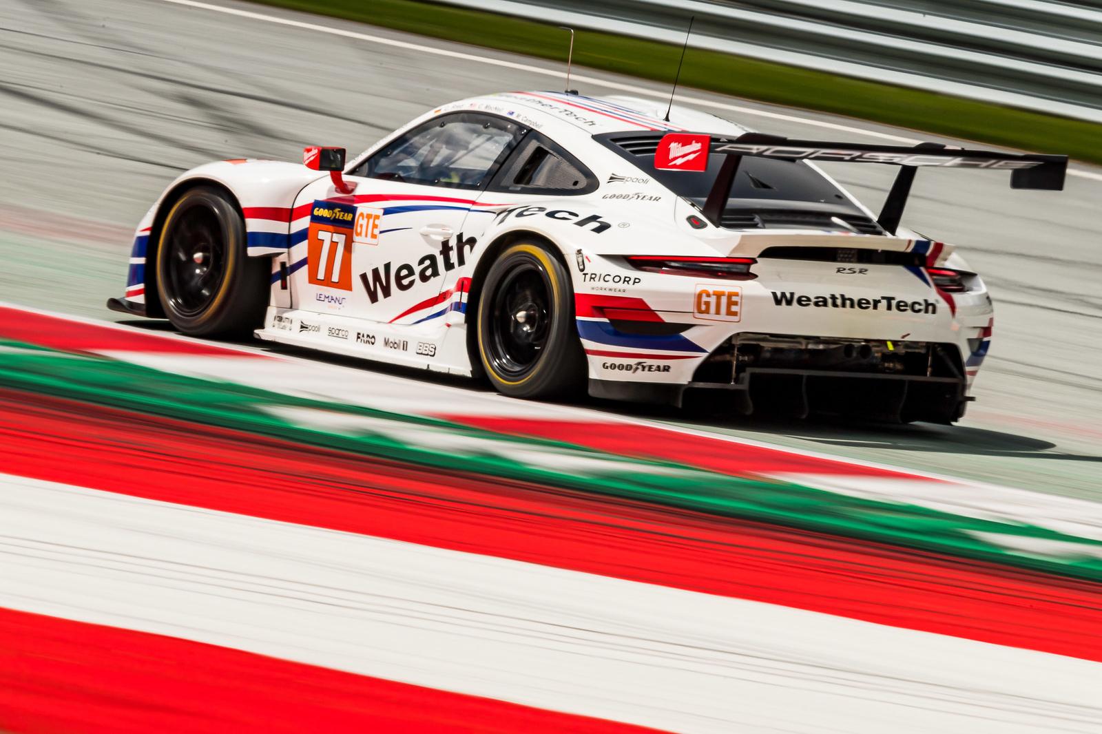 Porsche on a straight away.
