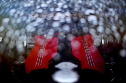 Close up of the Ferrari Engine.