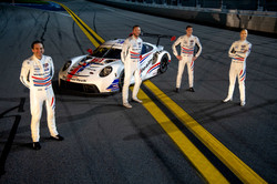 Drivers and car on track_